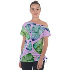 Fancy Tropical Pattern Tie Up Tee by tarastyle