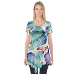 Fancy Tropical Pattern Short Sleeve Tunic  by tarastyle