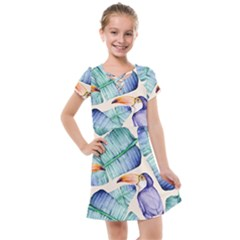 Fancy Tropical Pattern Kids  Cross Web Dress by tarastyle