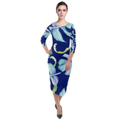 Fancy Tropical Pattern Quarter Sleeve Midi Velour Bodycon Dress by tarastyle