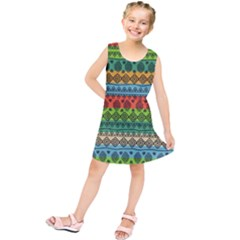 Fancy Colorful Mexico Inspired Pattern Kids  Tunic Dress