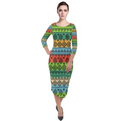 Fancy Colorful Mexico Inspired Pattern Quarter Sleeve Midi Velour Bodycon Dress by tarastyle