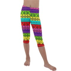 Fancy Colorful Mexico Inspired Pattern Kids  Lightweight Velour Capri Leggings  by tarastyle