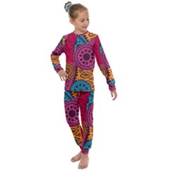Fancy Colorful Mexico Inspired Pattern Kids  Long Sleeve Set  by tarastyle
