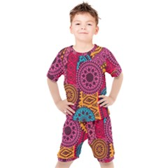 Fancy Colorful Mexico Inspired Pattern Kids  Tee And Shorts Set by tarastyle
