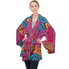 Fancy Colorful Mexico Inspired Pattern Velvet Kimono Robe by tarastyle