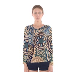 Fancy Colorful Mexico Inspired Pattern Women s Long Sleeve Tee by tarastyle