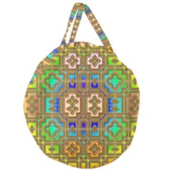 Background Image Tile Geometric Giant Round Zipper Tote
