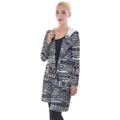 Ethno Seamless Pattern Hooded Pocket Cardigan by Pakrebo
