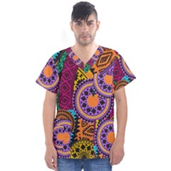 Fancy Colorful Mexico Inspired Pattern Men s V Neck Scrub Top