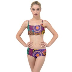 Fancy Colorful Mexico Inspired Pattern Layered Top Bikini Set by tarastyle