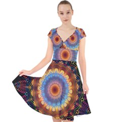 Colorful Prismatic Chromatic Cap Sleeve Front Wrap Midi Dress