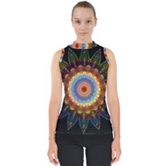 Colorful Prismatic Chromatic Mock Neck Shell Top