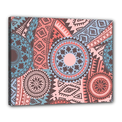 Fancy Colorful Mexico Inspired Pattern Canvas 20  X 16  (stretched)