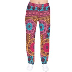 Fancy Colorful Mexico Inspired Pattern Velvet Drawstring Pants by tarastyle