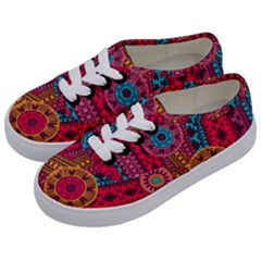 Fancy Colorful Mexico Inspired Pattern Kids  Classic Low Top Sneakers by tarastyle