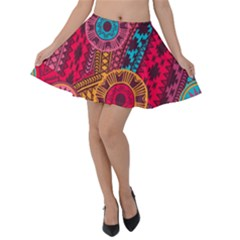 Fancy Colorful Mexico Inspired Pattern Velvet Skater Skirt by tarastyle