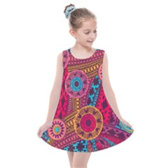 Fancy Colorful Mexico Inspired Pattern Kids  Summer Dress