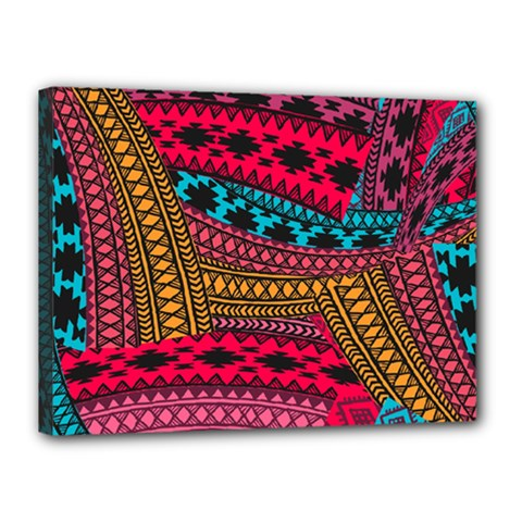Fancy Colorful Mexico Inspired Pattern Canvas 16  X 12  (stretched) by tarastyle