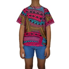 Fancy Colorful Mexico Inspired Pattern Kids  Short Sleeve Swimwear by tarastyle