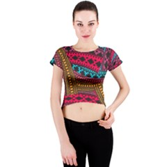Fancy Colorful Mexico Inspired Pattern Crew Neck Crop Top by tarastyle