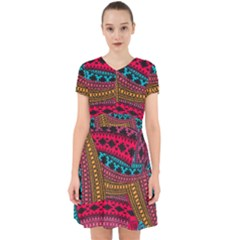 Fancy Colorful Mexico Inspired Pattern Adorable In Chiffon Dress