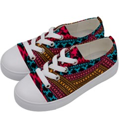 Fancy Colorful Mexico Inspired Pattern Kids  Low Top Canvas Sneakers by tarastyle