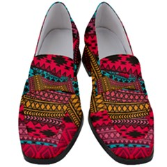 Fancy Colorful Mexico Inspired Pattern Women s Chunky Heel Loafers by tarastyle