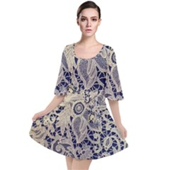 Point De Rose Velour Kimono Dress