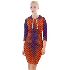 Background Fractals Surreal Design Quarter Sleeve Hood Bodycon Dress