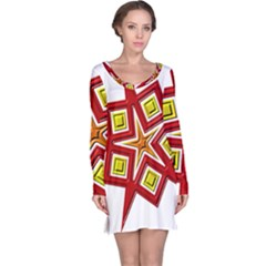 Pattern Tile Decorative Design Star Long Sleeve Nightdress
