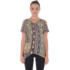 Fancy Colorful Mexico Inspired Pattern Cut Out Side Drop Tee