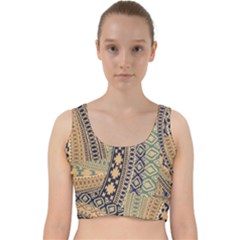 Fancy Colorful Mexico Inspired Pattern Velvet Racer Back Crop Top by tarastyle