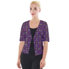 Tile Pattern Background Image Purple Cropped Button Cardigan