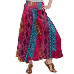 Fancy Colorful Mexico Inspired Pattern Satin Palazzo Pants by tarastyle