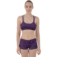 Tile Pattern Background Image Purple Perfect Fit Gym Set
