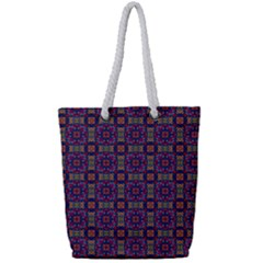 Tile Pattern Background Image Purple Full Print Rope Handle Tote (small)