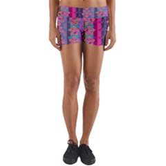 Fancy Colorful Mexico Inspired Pattern Yoga Shorts by tarastyle