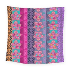 Fancy Colorful Mexico Inspired Pattern Square Tapestry (large) by tarastyle