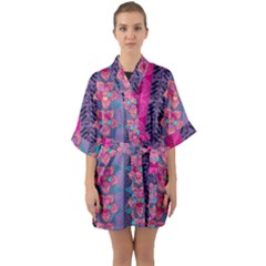Fancy Colorful Mexico Inspired Pattern Quarter Sleeve Kimono Robe by tarastyle