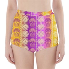 Fancy Colorful Mexico Inspired Pattern High Waisted Bikini Bottoms by tarastyle