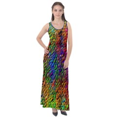 Background Image Ornament Sleeveless Velour Maxi Dress