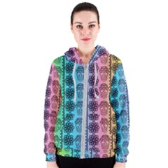 Fancy Colorful Mexico Inspired Pattern Women s Zipper Hoodie by tarastyle