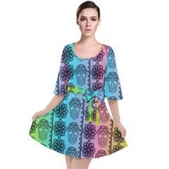 Fancy Colorful Mexico Inspired Pattern Velour Kimono Dress by tarastyle