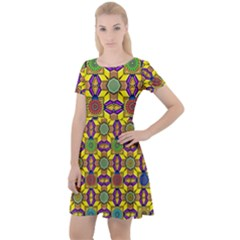 Background Image Geometric Cap Sleeve Velour Dress