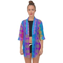 Fancy Colorful Mexico Inspired Pattern Open Front Chiffon Kimono by tarastyle