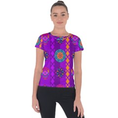 Fancy Colorful Mexico Inspired Pattern Short Sleeve Sports Top  by tarastyle