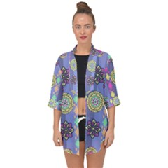 Fancy Colorful Mexico Inspired Pattern Open Front Chiffon Kimono