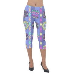 Fancy Colorful Mexico Inspired Pattern Lightweight Velour Capri Leggings  by tarastyle