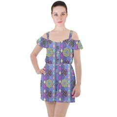 Fancy Colorful Mexico Inspired Pattern Ruffle Cut Out Chiffon Playsuit